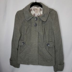 Tulle Gray Peacoat Hooded Size XL Fully Lined Snap